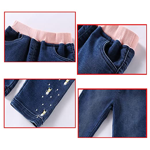 Deylaying Children Girls Embroidery Pattern Denim Baby Soft Elastic Waist  Jeans Kids Spring/Autumn Casual Trousers Fashion Pants: Amazon.co.uk:  Clothing