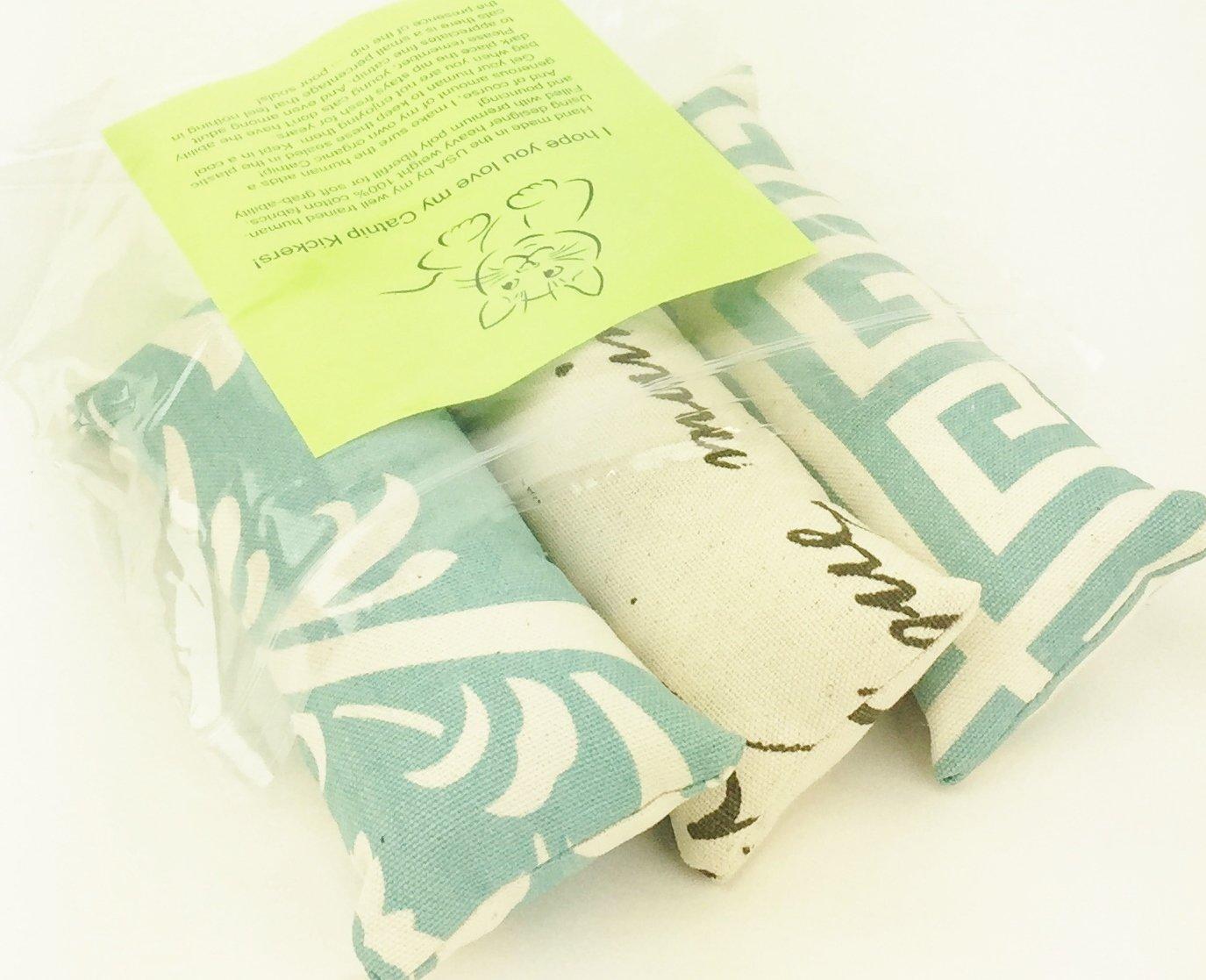 Cat Toy Catnip Kickers 3 PACK Organic soft blue on natural designer heavy cotton fabric