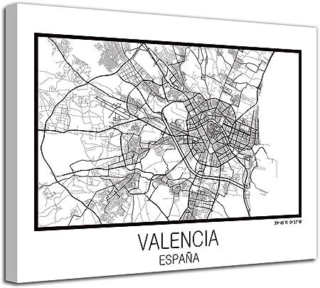 Foto Canvas Cuadro Mapa Valencia España en Lienzo Canvas Impreso Decorativo | Cuadros Modernos: Amazon.es: Hogar