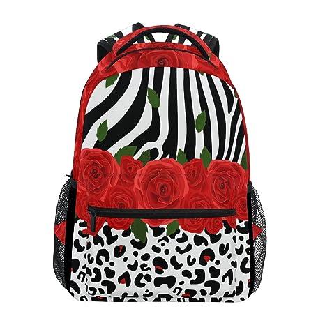 2fb973b31a30 Image Unavailable. Image not available for. Color  WXLIFE Rose Zebra  Leopard Print Backpack Travel School Shoulder Bag for Kids Boys Girls Women  Men