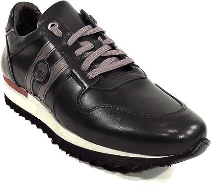EXTON Black Leather Men's Sneakers