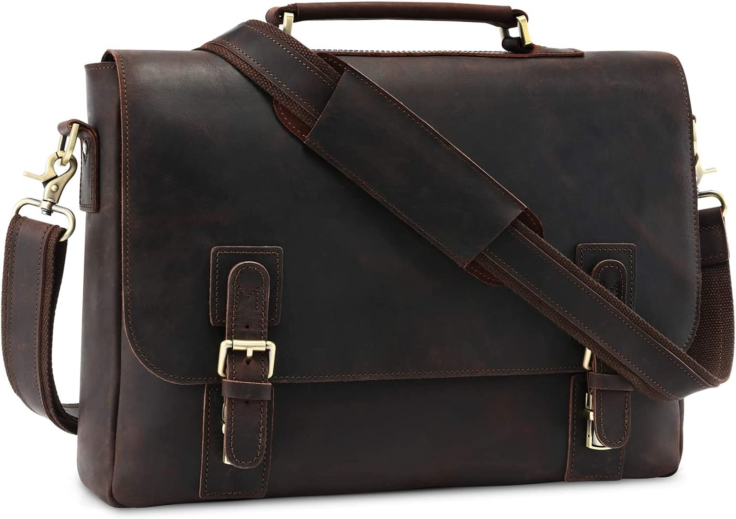 "Kattee Men's Leather Satchel Briefcase, 15.6"" Laptop Messenger Shoulder Bag Tote Dark Coffee"