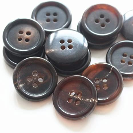 For Tailor Suits Jackets Trousers 10 X 15mm REAL HORN BUTTONS brown