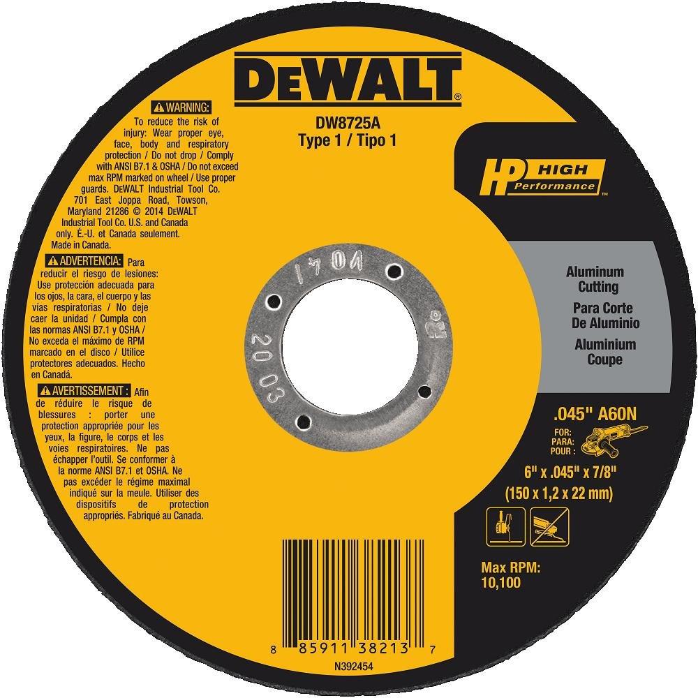 DEWALT DW8725A 6 x .045 x 7//8 Aluminum Oxide A60N Cutting Wheel