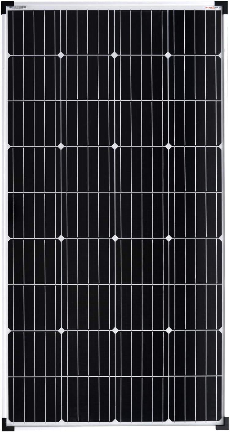Enjoysolar® Mono Panel solar monocristalino de 100 W, ideal para caravanas, casas con jardín, barcos, etc.