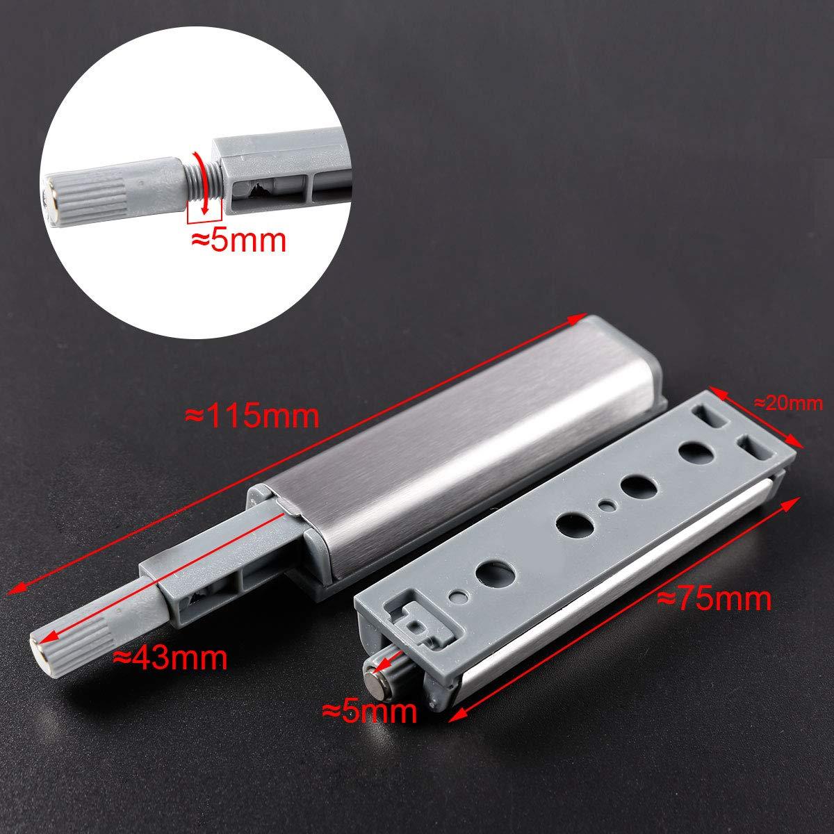 Anladia 10er Silber Druckschnapper Magnetschnapper Push to Open T/ür/öffner mit magnetischer Zuhaltung T/ürschnapper