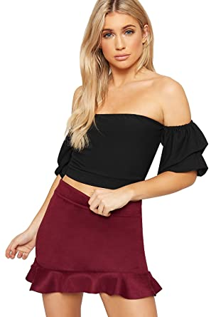 cbd26226f0e WearAll Women's Off Shoulder Tied Back Crop Top Ladies Ruched Gypsy Boho  Short Sleeve - Black