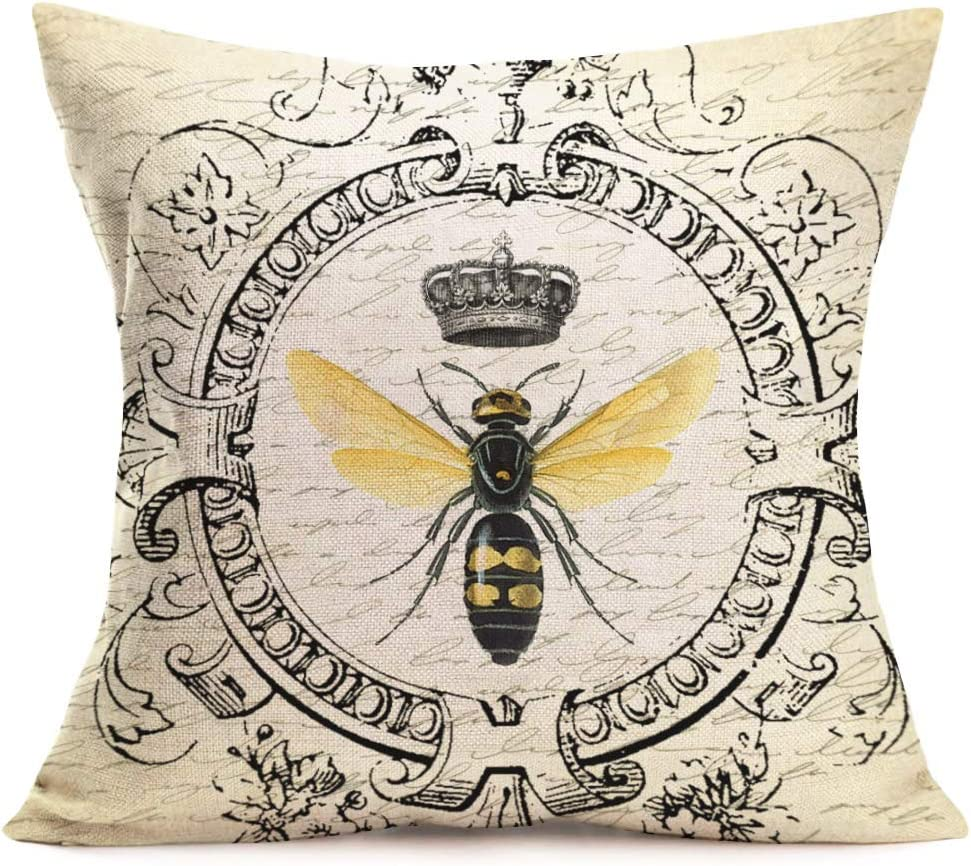 Royalours Throw Pillow Covers Modern Vintage French Queen Bee Decorative Throw Pillow Case Cushion Cover 18x18 inches Cotton Linen Home Sofa Decor Pillowcase (French-Bee)