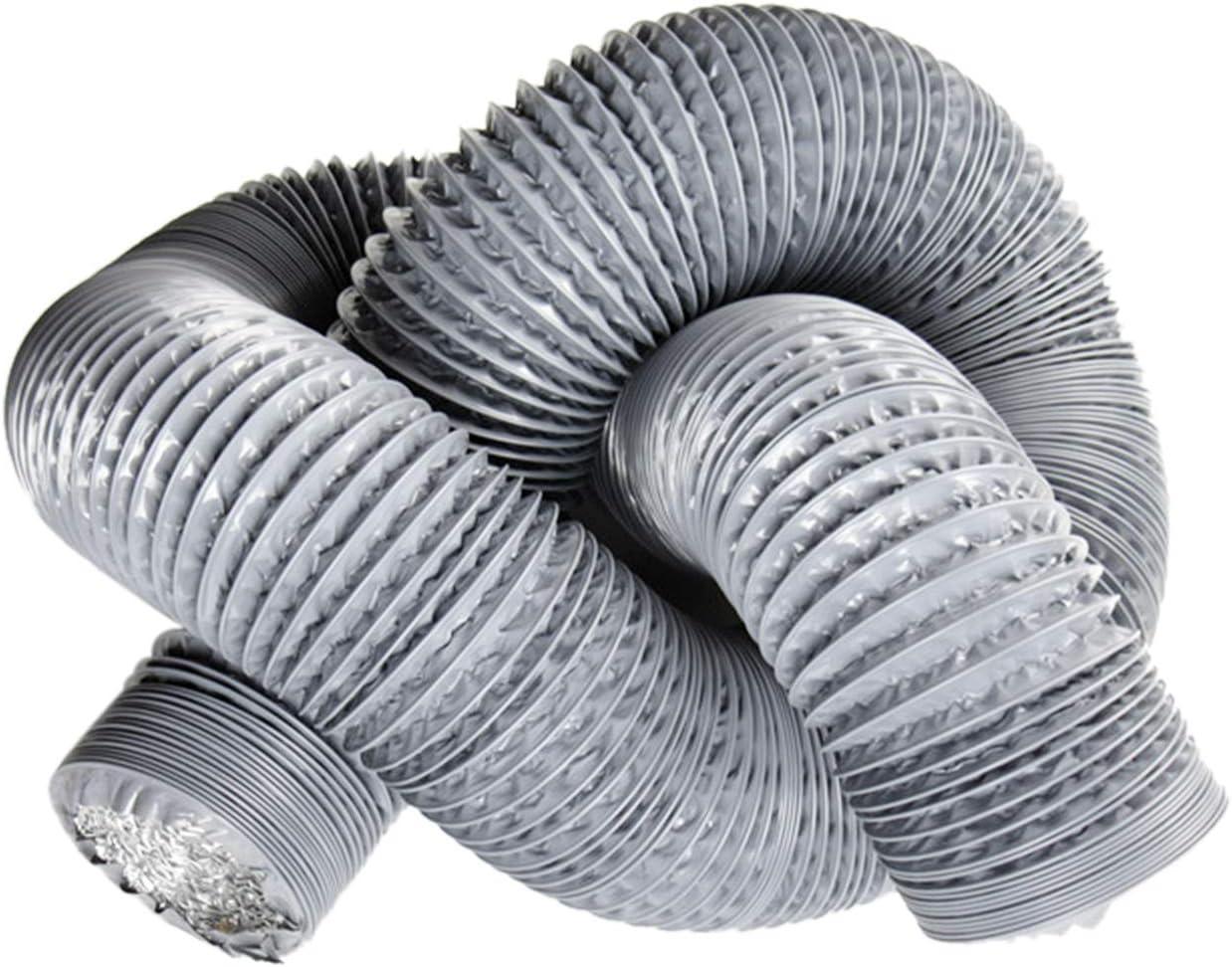 Hon/&Guan Condotti Tubo di Ventilazione Flessibile in Alluminio PVC per Aerazione Domestica Hydroponics /ø100mm*10m, Grigio