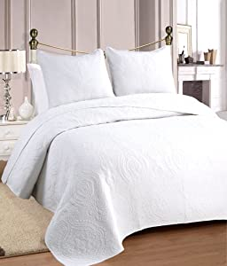 Cozy Line Home Fashions Bailee Matelasse Medallion Solid White 100% Cotton Bedding Quilt Set, Reversible Luxury Chic Bedspread Coverlet,for Bedroom/Guestroom(Medallion - White, King - 3 Piece)