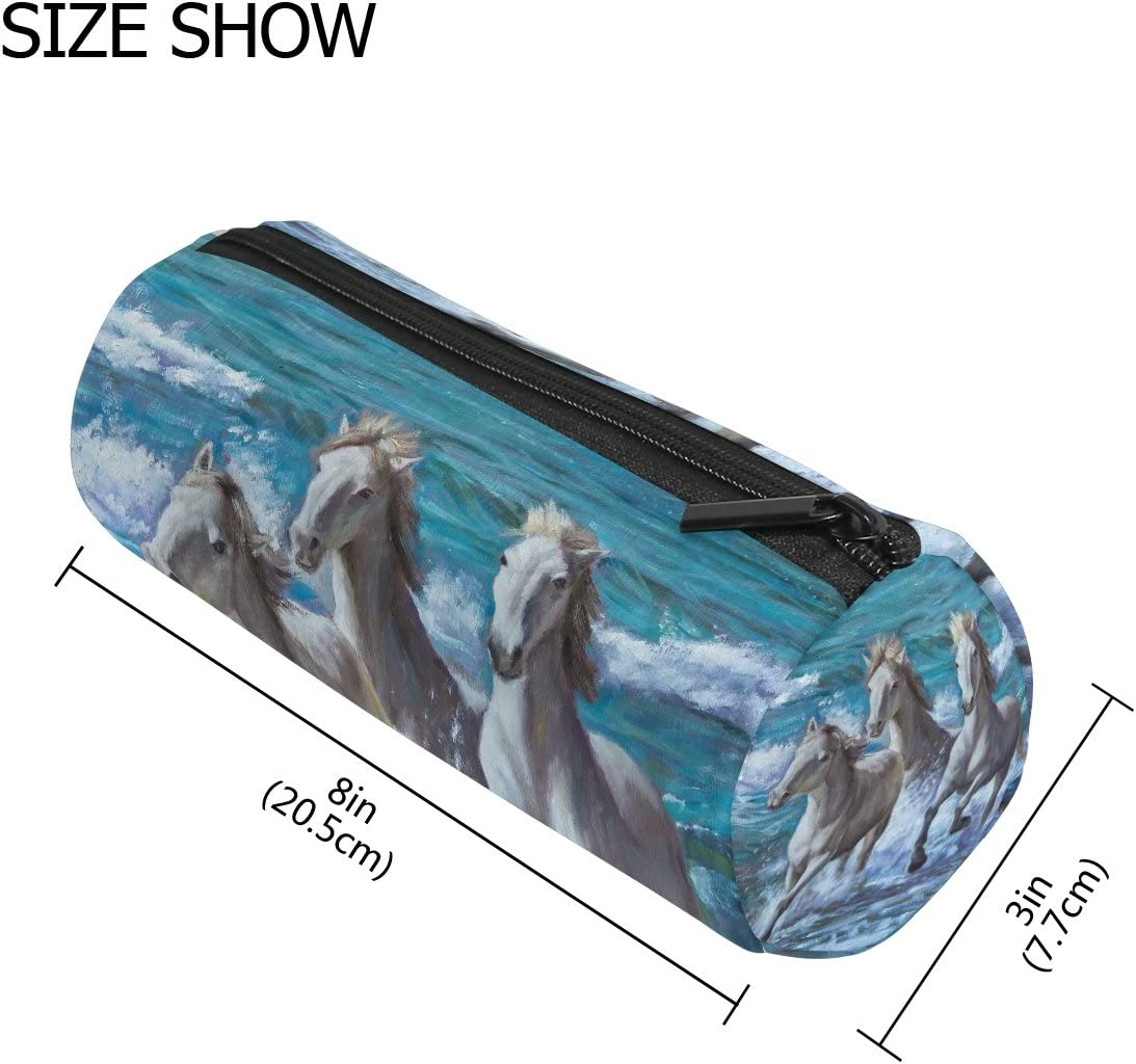 TIZORAX Pintura al óleo de caballos por el mar estuche bolígrafo bolsa con cremallera monedero organizador de maquillaje cosmético bolsa para mujeres adolescentes niñas niños: Amazon.es: Oficina y papelería