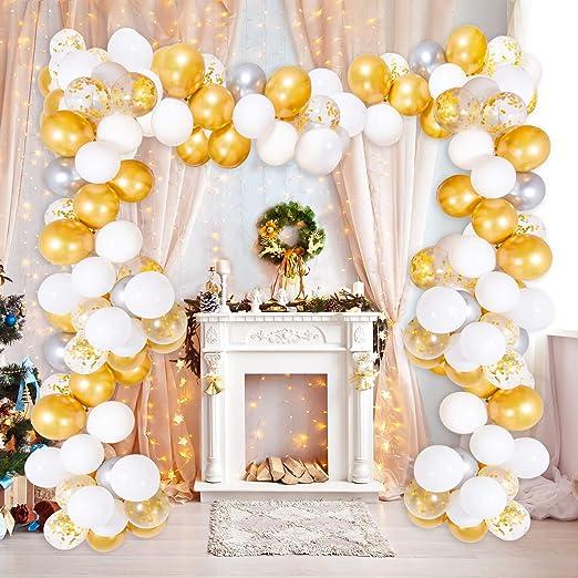 Supchamp Kit de Guirnaldas de Globos, Kit para Arco, 100 Pcs Globos Blanco, Dorado y Plateados Metalizado, Dorados Confeti, con Accesorios para ...