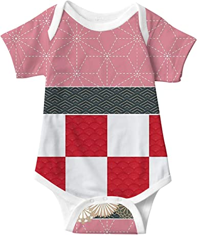 Shinobu pattern Baby Short Sleeve Creeper, Baby Onesie for Boys and Girls Bodysuit Outfit for 3-24 Months