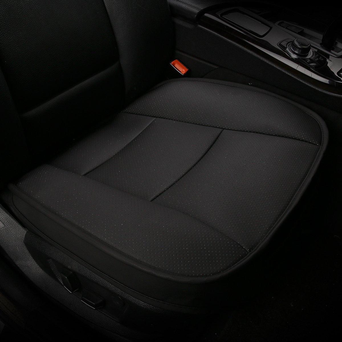 SENSUIT Car Seat Cover, cuoio dell'unità di elaborazione Traspirante Confortevole Seggiolino auto antiscivolo cuscino per quattro stagioni universale (Nero)