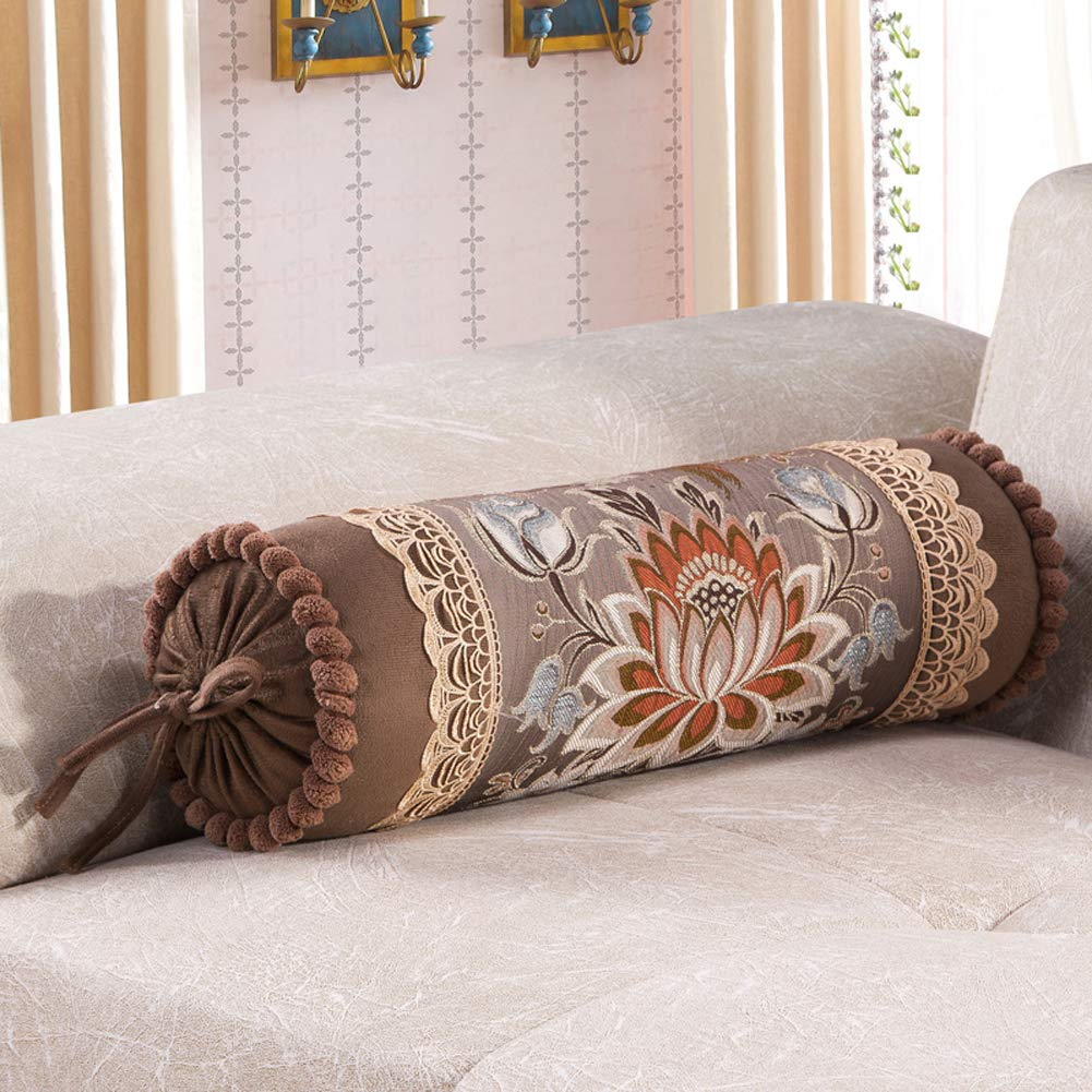 European Palace Luxury Long Sofa Pillow Candy Cylinder Bolster Pillow Nap Containing Core Beige