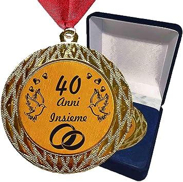 Anniversario Di Matrimonio 40 Anni Regali.Larius Group Medaglia Regalo 40 Anni Insieme O Il Testo Desiderato