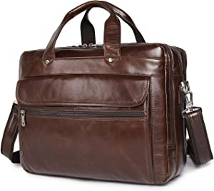 Augus Genuine Leather Mens Briefcase businessTravel Bags 15.6 Inch Laptop Bag YKK Zipper, Coffee