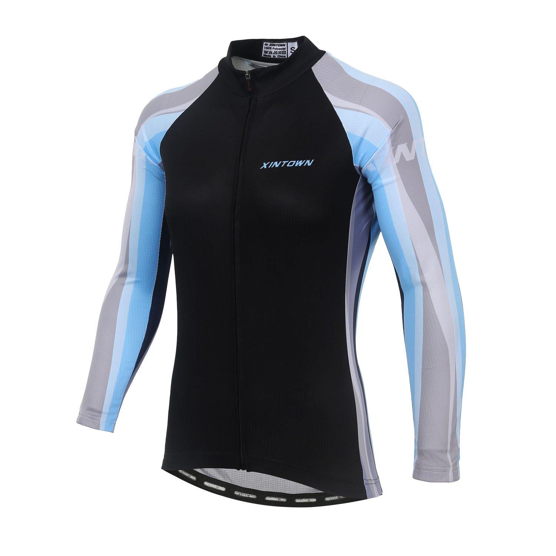 DuShow Women Cycling Jersey Long Sleeve Bike Jacket Biking Bicycle Cycling Jersey Shirt Full Zip