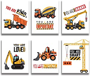 Colorful Baby Nursery Wall Decor, Construction Bulldozer Truck Art Print, Construction Inspirational Quote Wall Art, Perfect for Nursery Bedroom Decoration, Kid, Set of 6 Posters (Unframed ,8