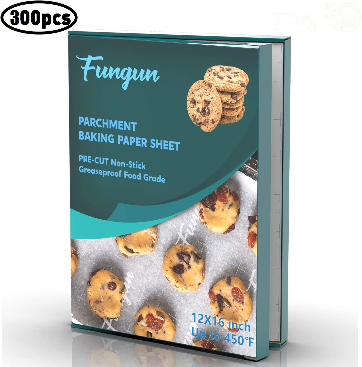Parchment Paper Sheets For Baking-Fungun Precut White Parchment Paper Liners For 12 X 16 Cookie Sheets & Pans - Best For Non-Stick Baking - 300 Sheets