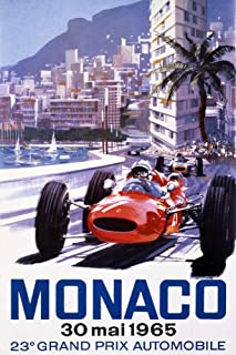 product image for France - Monaco - 23e Grand Prix Automobile - (artist: Turner c. 1965) - Vintage Advertisement (36x54 Giclee Gallery Print, Wall Decor Travel Poster)