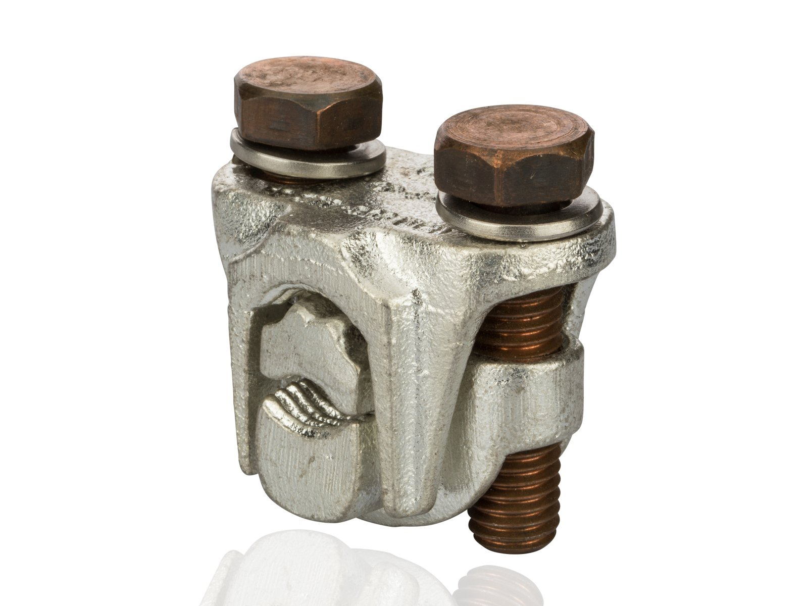 Tap Connector - Tap Connector - Two-Bolt Bronze-Plated for Aluminum, Copper and Steel, 500 MCM-350 MCM Main Wire Range, 500 MCM-4 sol Tap Wire Range