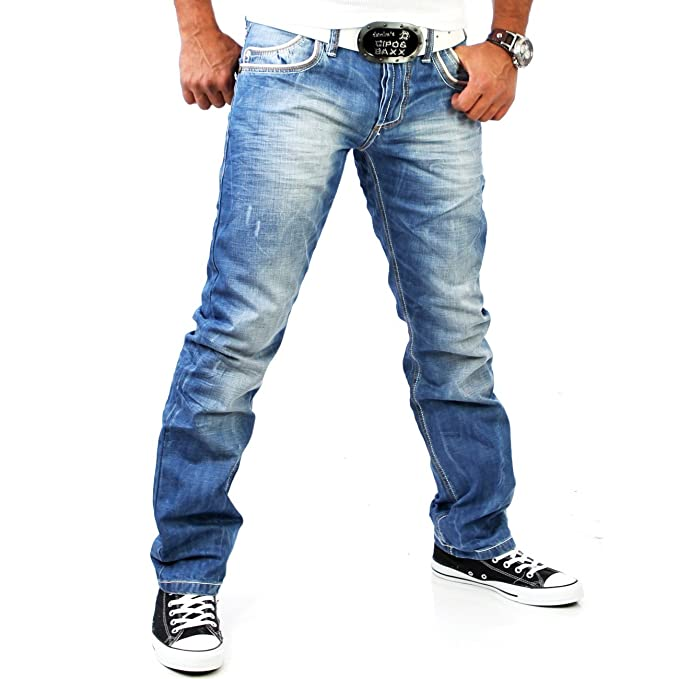 Pantalones vaqueros azules Rib C-595 Cipo & Baxx: Amazon.es ...