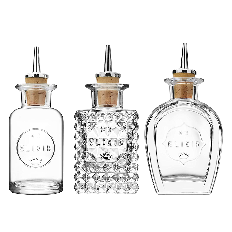 Luigi Bormioli Elixir Dash Bottles Set of 3 Cocktail Equipment Bitters Bottles Bar Equipment Dash Bottles