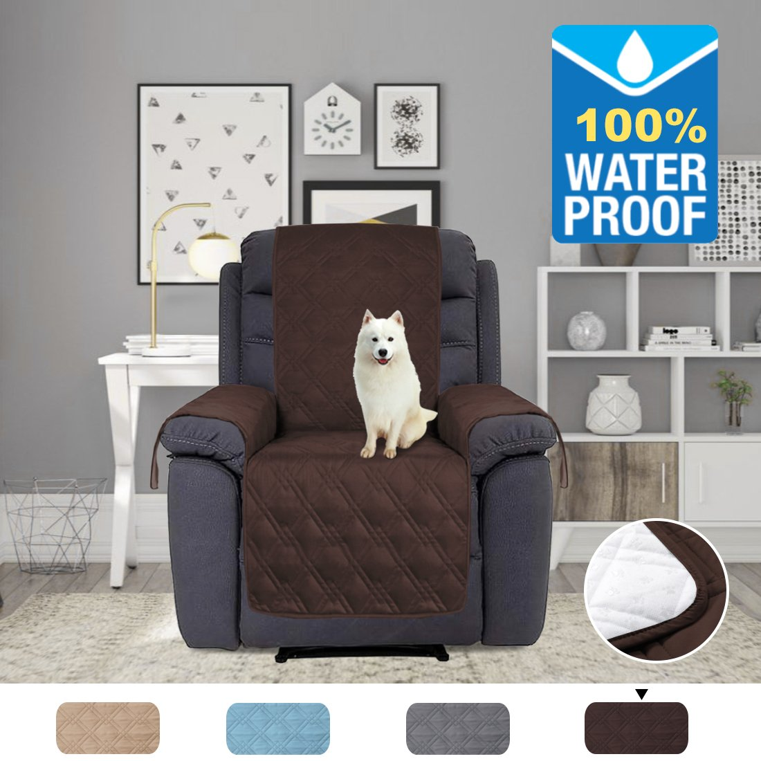 H.VERSAILTEX 100% Water Proof Furniture Cover Silicon Rubber Print to Keep Stay in Place Protector for Pets (Oversized Recliner: Brown) - 91 inch x 84 inch