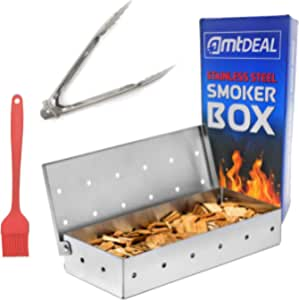 Smoker Box for BBQ Grill with Tongs & Basting Brush Set - Thick Heavy-Duty Stainless Steel Smoking Box - Great Tools for Gas & Charcoal Smoker Grill - Free Instructions & BBQ Recipes eBook Included