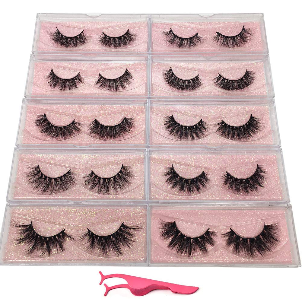 dc268a91a82 Amazon.com: Labeh 5D & 3D Mink lashes Dramatic False lashes 10 different  styles Reusable Handmade Natural Soft lashes 16-25mm Fake Eyelashes(10 ...