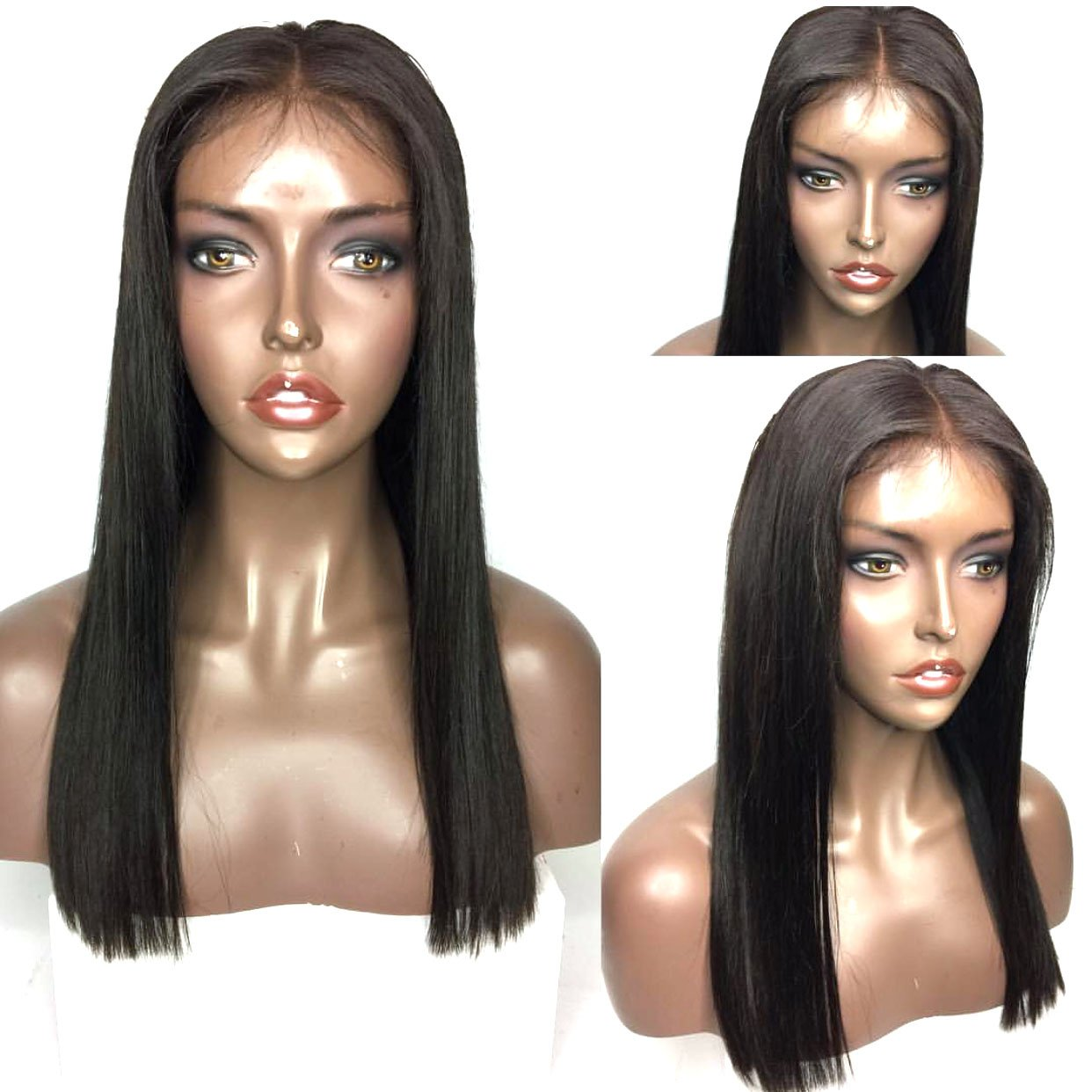 Amazon.com   AllHairz Glueless Short Hair Cute Lace Front Human Hair Wig  Brazilian Hair Bob Wigs for Black Women with Baby Hair Straight Short Hair  Human ... 7fa07dbfd