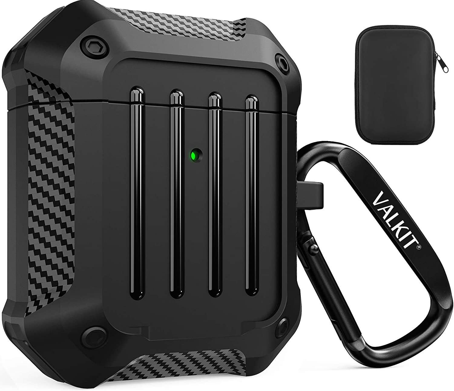Valkit Compatible AirPods Case Cover for Men Women, Full-Body Rugged Protective Airpods Cover with Keychain Air Pod 2 Case for Airpods Wireless Charging Case 2 & 1 - Black