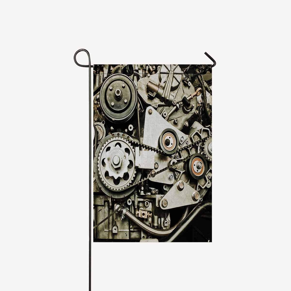 """Cool Sport Car's Engine Gears Steampunk Garden Flags House Banner Decorative Flags Home Outdoor Valentine,Welcome Holiday Yard Flags 12"""" x 18"""" (Without Flagpole)"""