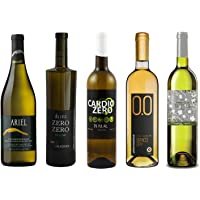 White Wine Sampler - Five (5) Non-Alcoholic Wines 750ml Each - Featuring Ariel Chardonnay, Zero Zero Deluxe White, Cardio Zero White, Bianco Dry, and Tautila Blanco
