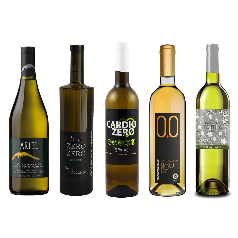 White Wine Sampler - Five (5) Non-Alcoholic Wines 750ml Each - Featuring Ariel Chardonnay, Zero Zero Deluxe White, Cardio Zero White, Bianco Dry, and Tautila Blanco