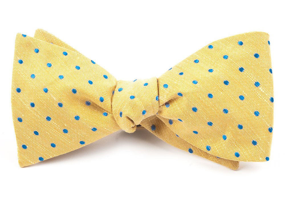 The Tie Bar Linen Blend Dotted Dots Yellow Self-Tie Bow Tie