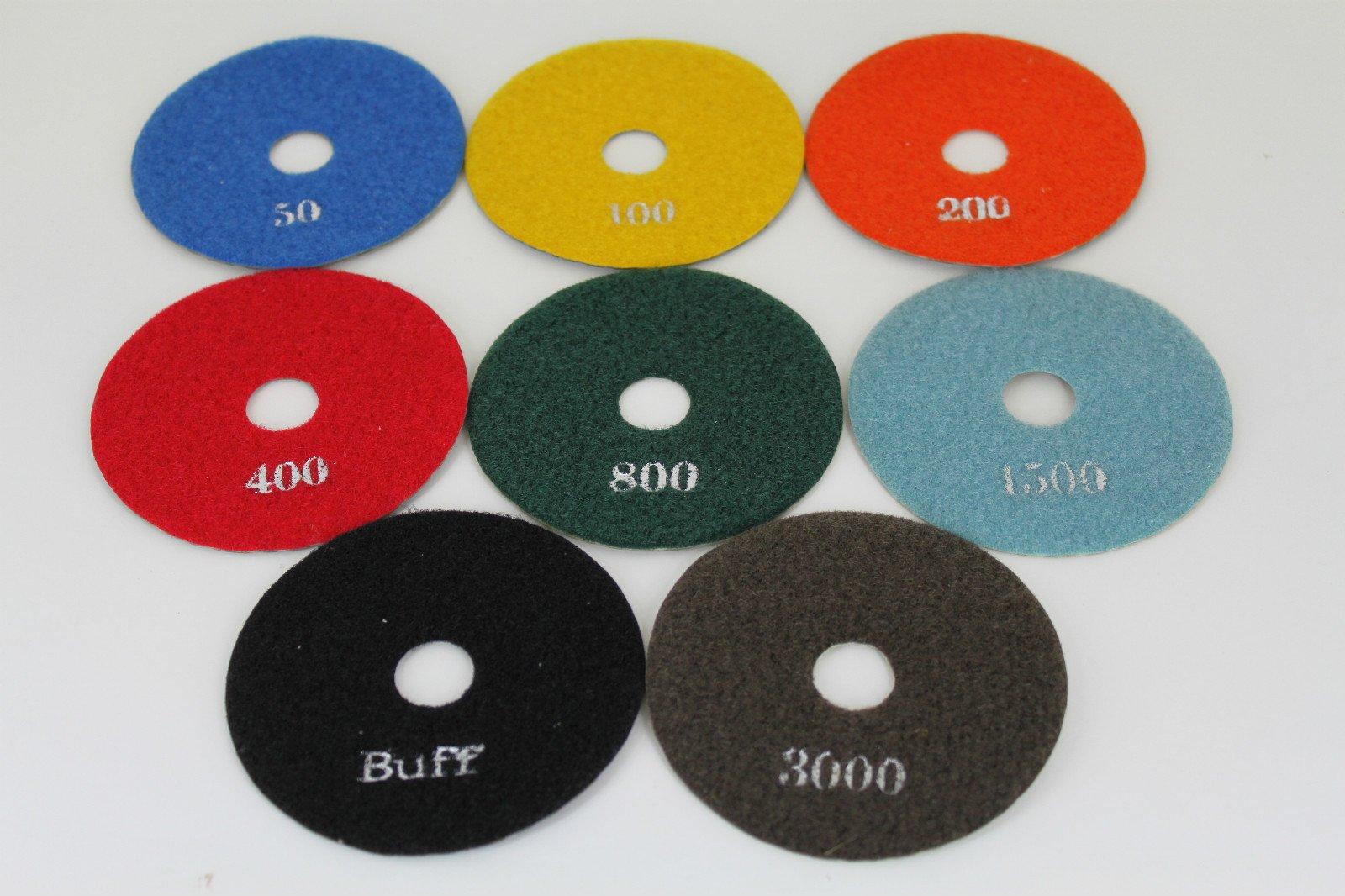 TEMO 8pcs 4 inch (100mm) Diamond Stone Marble DRY polishing Pad Wheel Disc set including a holder GC
