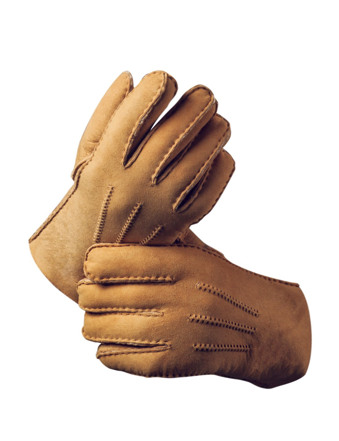 YISEVEN Men's Merino Rugged Sheepskin Shearling Leather Gloves Three Points Long Cuffs Thick Furry Fur Lined Warm Heated Lining Cuffs Winter Dress Driving Work Xmas Gifts, Camel Small