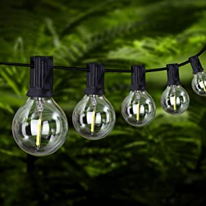 YUNLIGHTS LED Outdoor String Lights, 50FT 30+3 Bulbs G40 Globe String Lights – Waterproof Patio String Lights - Indoor Outdoor Decorative String Lights for Backyard Bistro Porch Garden Cafe Party