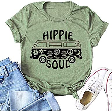 Hippie Soul - Camiseta de manga corta para mujer, diseño de flores de autobús