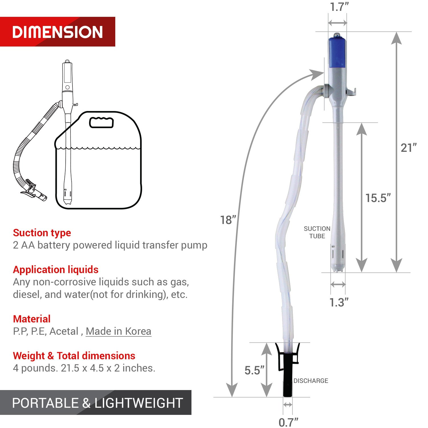 TERA PUMP Portable Power Water/Fuel Battery Pumps with AutoStop by TERA PUMP (Image #3)