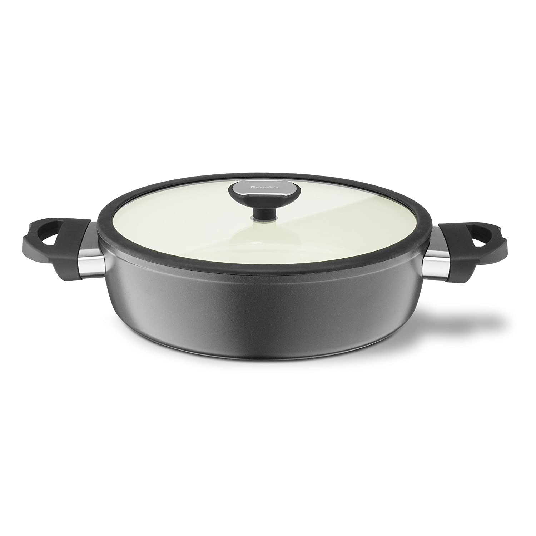 2,25 litro Berndes 78.914 Equilibrio Intelligente di induzione in Alluminio Schmorkasserolle Ceramica con Coperchio in Vetro 24 cm