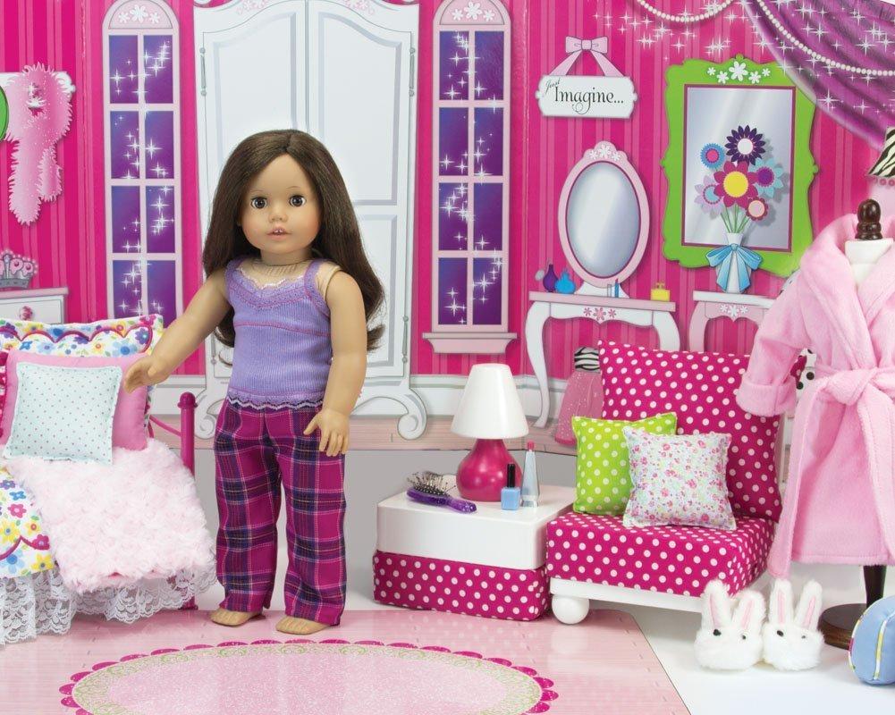 18インチドール用ファーニチャーセット:ホワイトのシェーズロング、チェア、オットマン、ランプ Girl、ホットピンク/ホワイトのポルカドット柄クッション、ピロー2個18インチAmerican Girl Dollsなどに最適 B00D5VMBG2。ドールチェア/シェーズロング/オットマン/ランプのセット。 B00D5VMBG2, ピュアナチュラル:cd43de77 --- kutter.pl