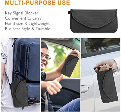 Car Key Fob Protector Anti-Car Theft 9.8x11 inch Radiation Protection Faraday Bag Signal Blocker and Faraday Cage Signal Blocking Bag for Cell Phones Anti-Hacking /& Anti-Tracking Assurance