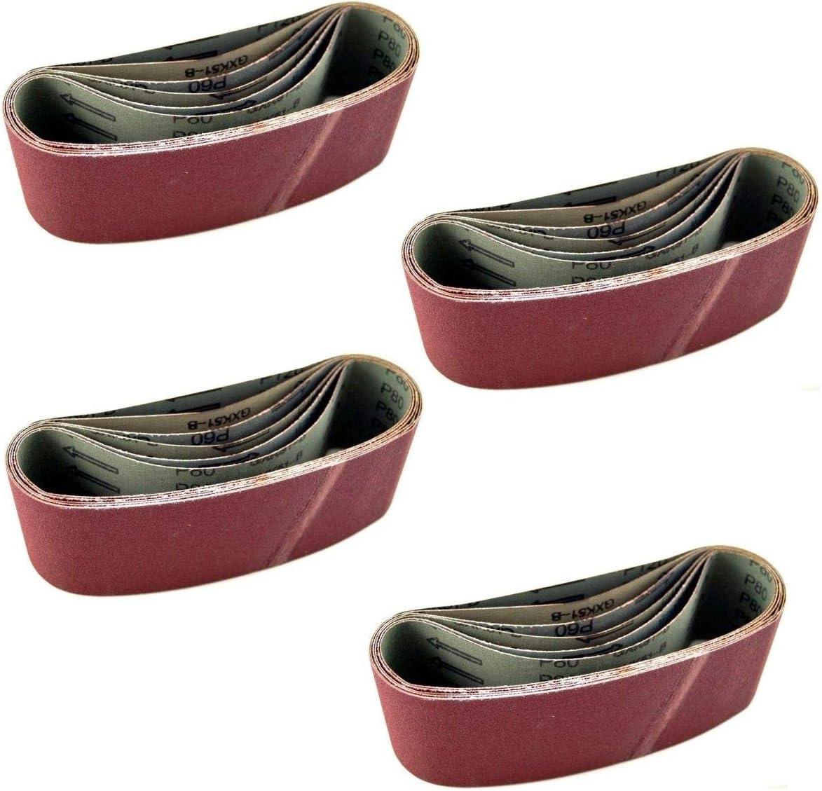 24 x Bandschleifpapier 75 x 533 mm Schleifpapier Bandschleifer Schleifband K/örnung 40//60//80//100//120//150