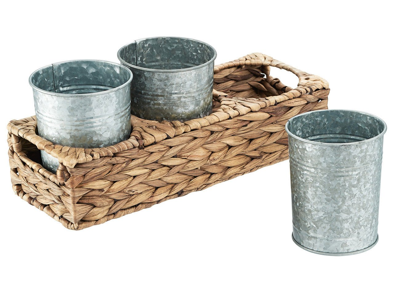 Seagrass & Galvanized Flatware Caddy