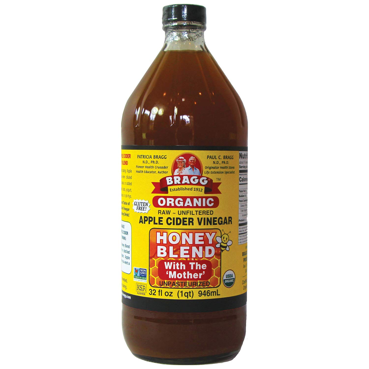 Bragg Organic Apple Cider Vinegar Blends, Honey Blend, 32 Ounce
