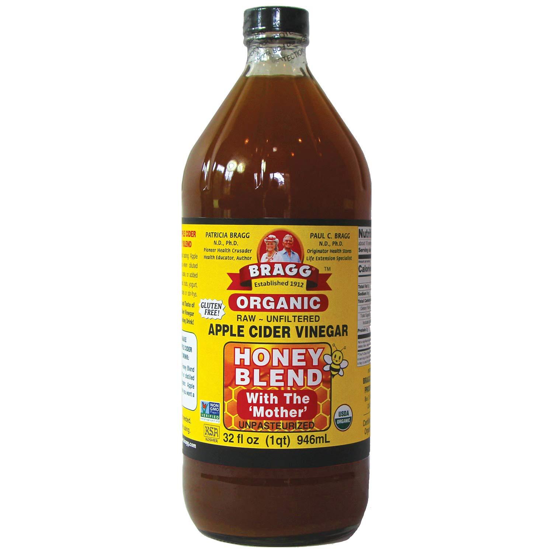 Bragg Organic Apple Cider Vinegar Blends, Honey Blend, 32 Ounce