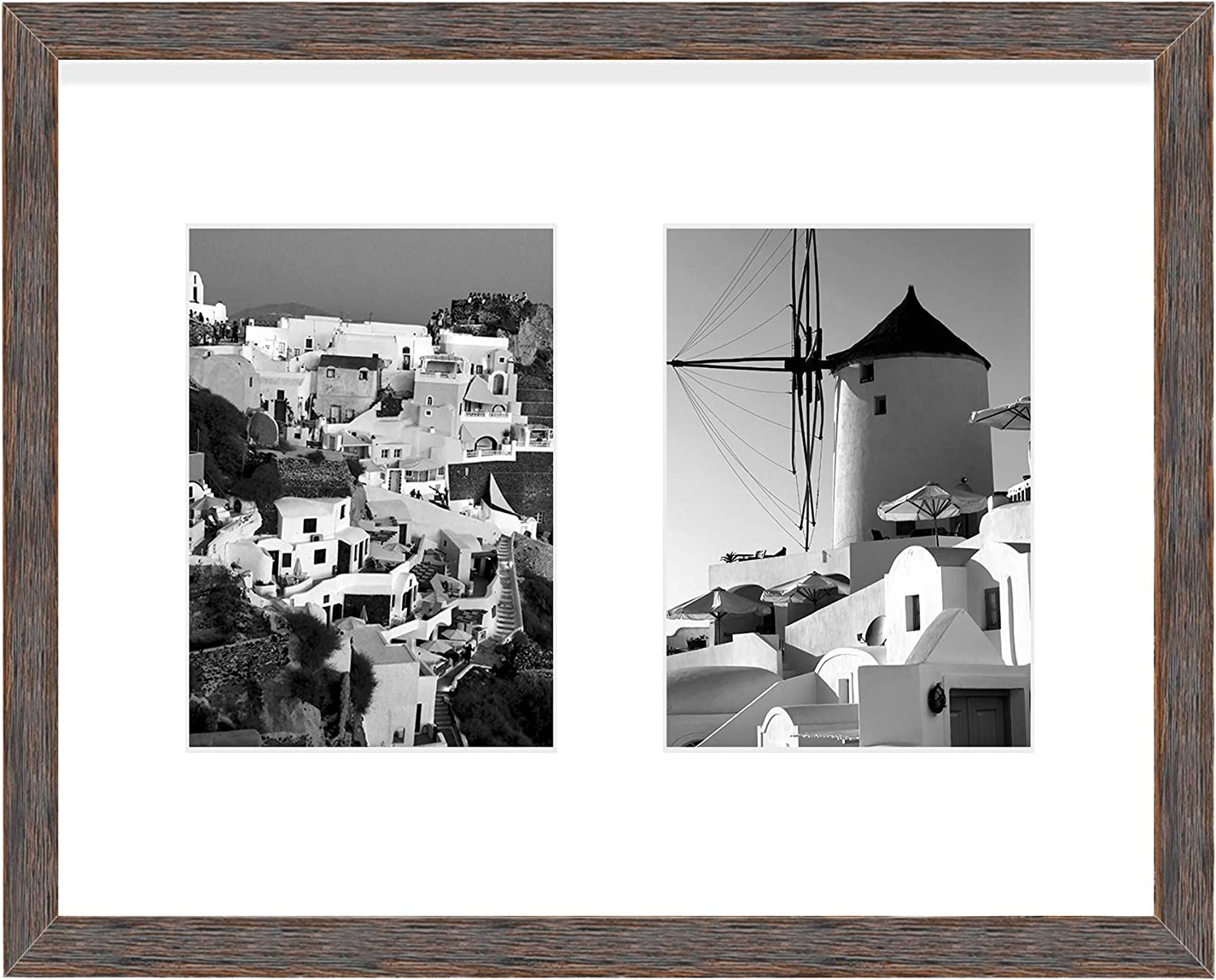 Golden State Art, 11x14 Distressed Brown Wood Frame with White Mat - Displays Two 5x7 Photos - Real Glass, Sawtooth Hangers, Swivel Tabs - Wall Mounting, Landscape, Portrait